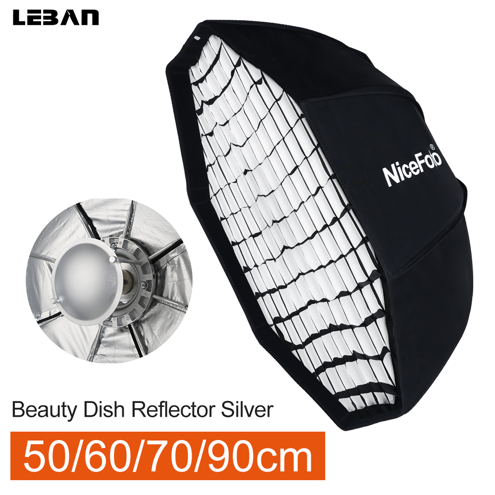 Honeycomb Grid 70cm Silver Studio Flash Light Collapsible Beauty Dish Octagon Softbox With Bowens Mount For Studio Flash
