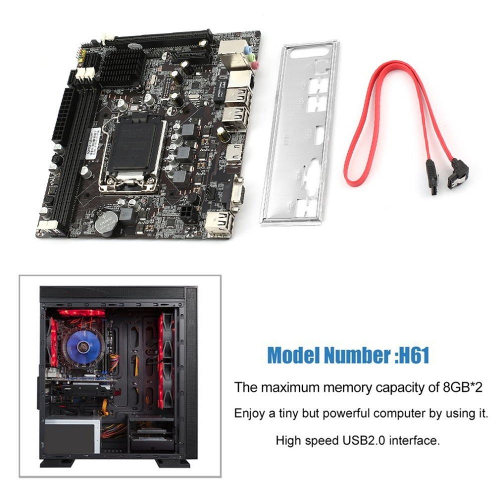 Professional H61 Desktop Computer Mainboard Motherboard 1155 Pin CPU Interface Upgrade USB3.0 DDR3 1600/1333