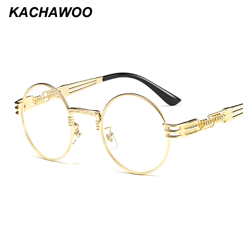 Kachawoo Vintage Retro Glasses Men Gold Metal Frame Clear Lens Nerd Round Eyeglasses Frame Women Decoration 2018 Ochelari Femei