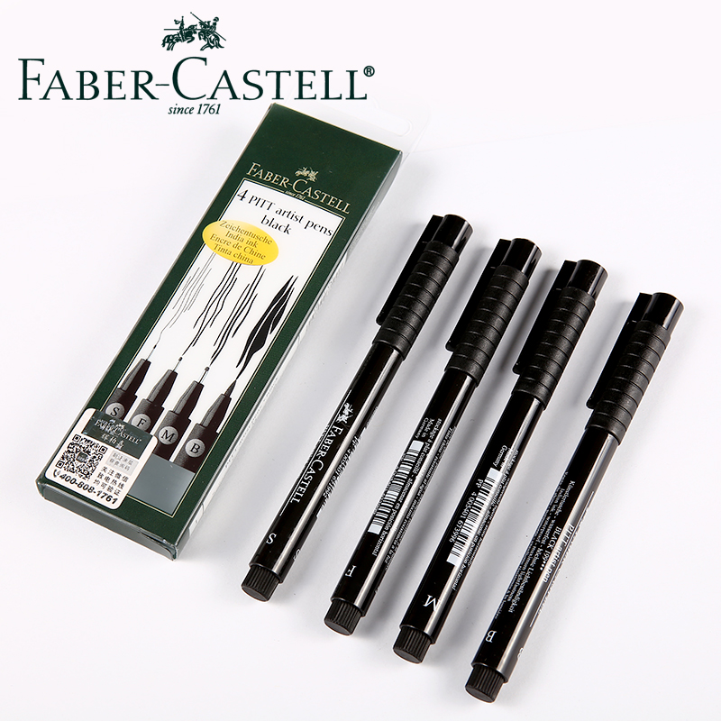 pitt artist pen faber castell - Professional Faber Castell PITT Artist Pens Black Fineliner 4pcs Set Pigment Ink Brush Marker Drawing Pen Art Supplies 167100