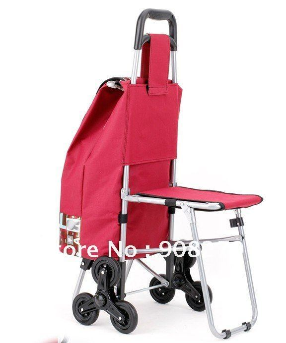 Climbing shopping cart with seat luggage barrow hand buggy folding ...