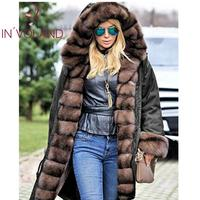 Casual V Button Solid Hooded Long Mane Army Coat Women Thicken Green Knee Black Above Loose Hooded Sleeve Neck Winter