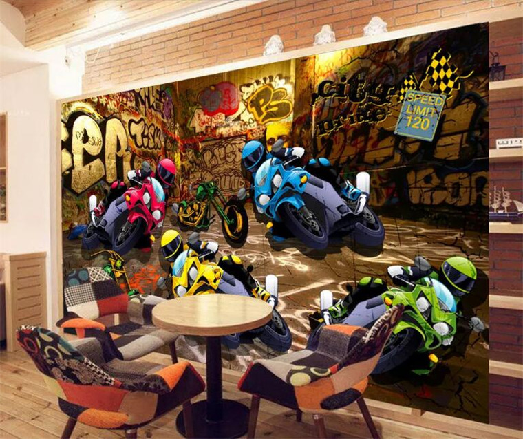 Photo Wallpaper 3d Street Motorcycle Racing Graffiti Style Background Wall Decoration Painting Stereo Wallpaper Custom Mural Big Clearance Sale