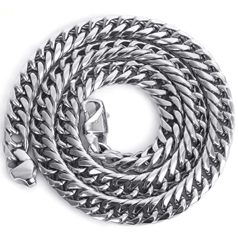 11/13/16/19MM Cool Stainless Steel Silver Polished Cuban Curb Chain Men's Necklace Or Bracelet 7″-40″ Trendy Jewelry Xmas Gift