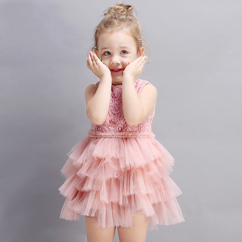2017 Little Baby Girls Birthday Party Dress Fluffy Tutu Tully Dresses Cute Princess Evening Dolly Clothes for age23456 Years Old