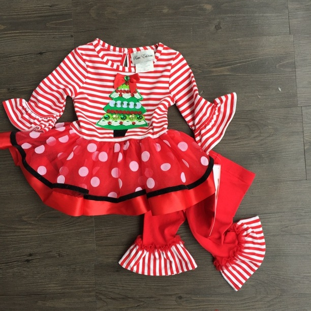 8pcslot rare editions clothing set for girls dress and pants set kids christmas dress and leggings set with christmas tree in clothing sets from mother