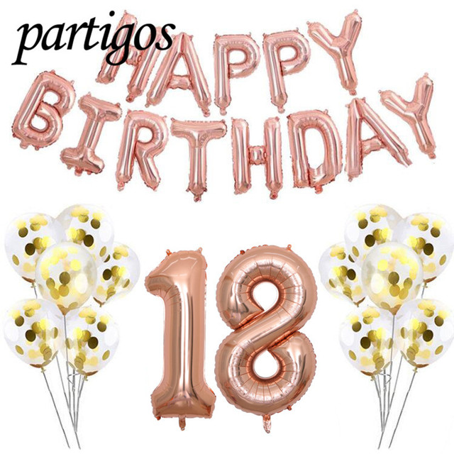 Rose Gold Tone 27pcs Lot 40inch Number 30th Happy Birthday Letter Foil Balloons 12