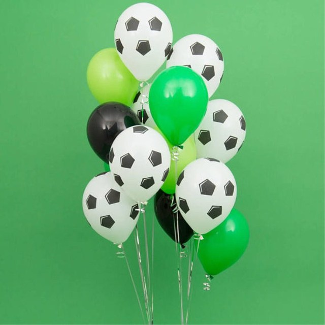 13 sztuk/partia 18 calowy okrągły piłka nożna balony foliowe dziecko urodziny gym Party piłka nożna Helium Globos 10 cal biały czarny lateks...