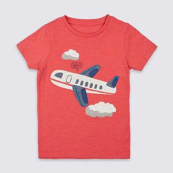 Little Maven Nieuwe Zomer Kinderkleding Korte O-hals Rode Applique Vliegtuig Gebreide Leuke Katoen Kwaliteit Jongens Casual Tshirt