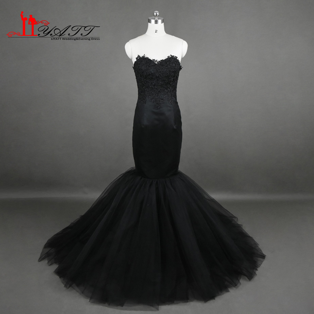 Africain 2017 chaude pas cher de soirée robes de bal noir sexy sirène dentelle appliques discount formelle femmes robe liyatt