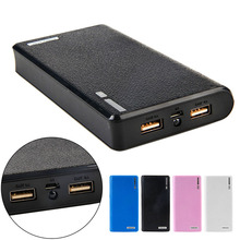 1 pc duplo usb power bank 6x18650 caixa carregador de bateria de backup externo caso para o telefone