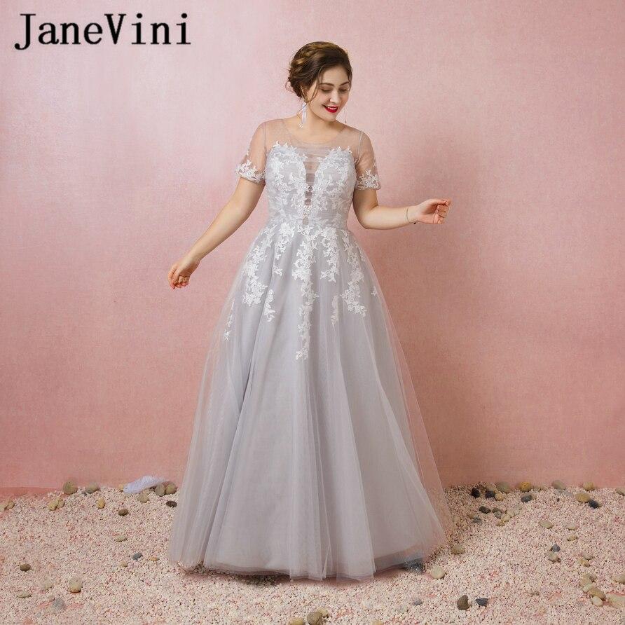 JaneVini 2018 Light Gray Elegant   Bridesmaid     Dresses   A Line Sheer Scoop Neck Lace Applique Tulle Floor Length Vestido Longo Noite
