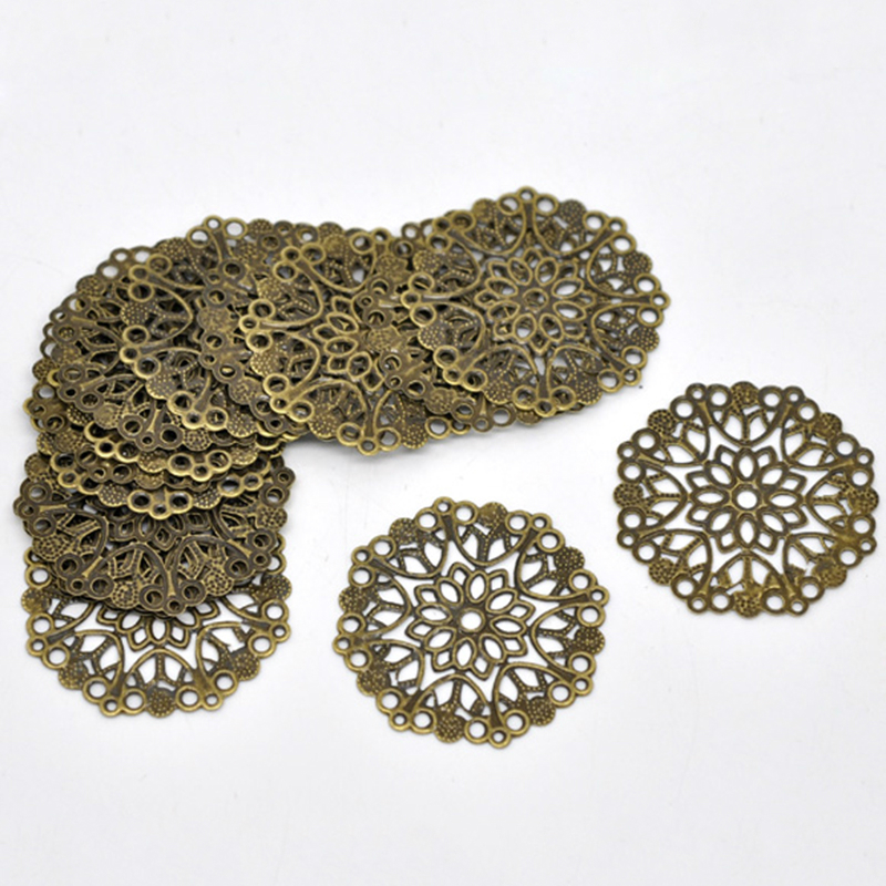 Doreen Box Lovely 50 Bronze Tone Filigree Flower Wraps Connectors 35mm (B14745)