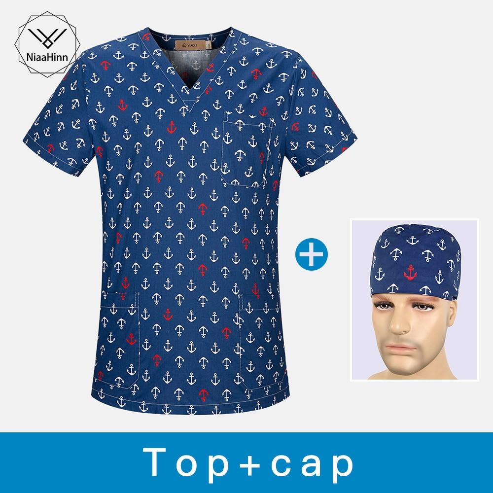 Medical Scrubs Tops Nursing Uniforms Medical Clothing Dental Clinic Nurse Scrubs Women Hair Dresser Surgical Gown Hat Masks