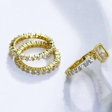 Набор Колец золотого цвета с фианитом и кристаллом 3 шт