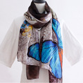 Color large butterfly European and American fashion printing scarves spring and summer thin section of Ms. silk