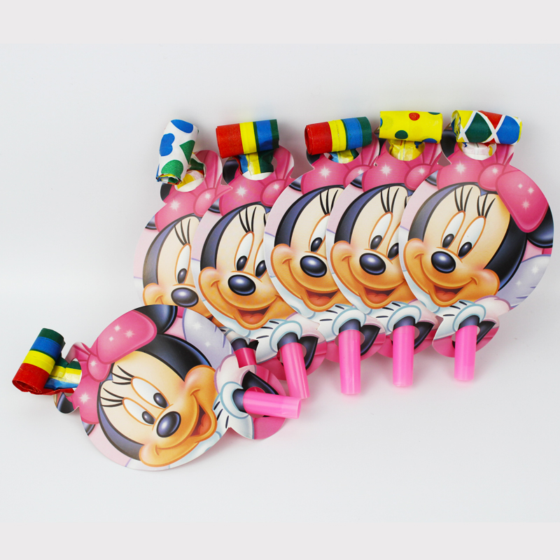 6pcs/pack Minnie Mouse Theme Kid Birthday Party Paper Blowout For Party Supplies Decoration