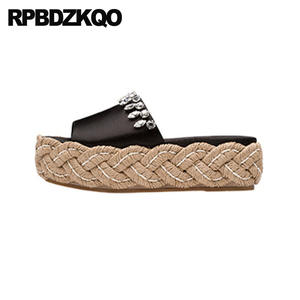 b447cef7198 RPBDZKQO Shoes Women Black Rhinestone Platform Flat Sandals
