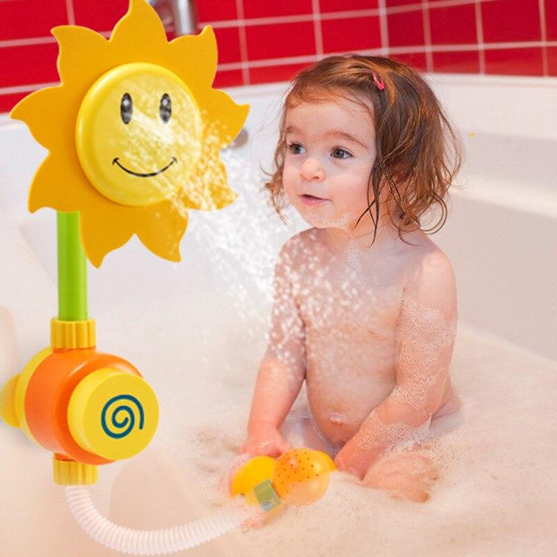 Bébé bain jouets enfants salle de bain jouer pulvérisation d'eau tournesol nuage éducatif douche jouets bébé shampooing bain automatique bec jouet
