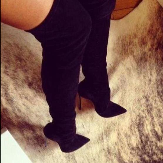 cbdf3b55d5c New Black Suede&Leather Thigh High Boots Spiked Metal High Heels ...