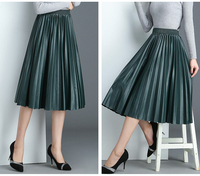 3aa9ac2605f58e 2019 Spring New Arrival High Waist Leather Skirt Organ Pleated Skirt  Elegant 8 Colors Available Ladies