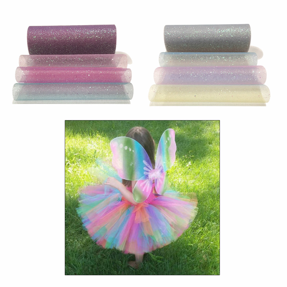 Us 2 73 16 Off New 10 Glitter Rainbow Gradient Tulle Roll Diy Tutu Skirt Wedding Table Runner Decoration Yarn Roll Tulle Element Wedding Decor In