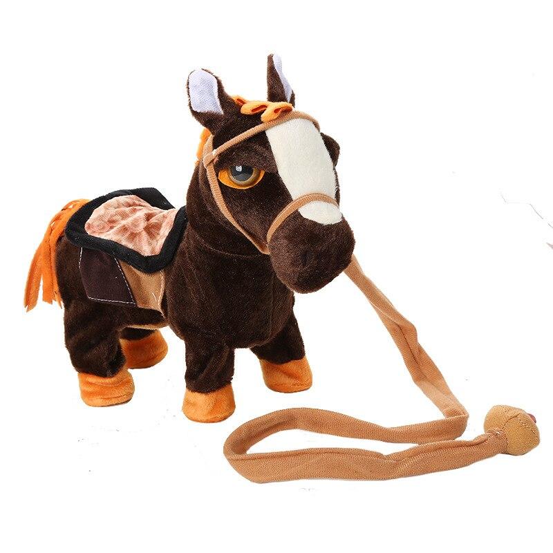 Singen Kinder Elektrische Fuß Plüsch Soft Horse Stofftier Spielzeug Fuß Genannt Verdrehen Singen Musik