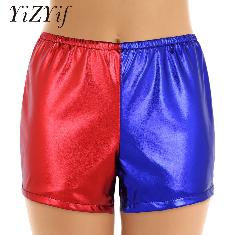 Women Sexy Shiny Metallic Shorts Elastic Waist Red And Blue Color Block Hot Booty Shorts Halloween Jester Cosplay Costume