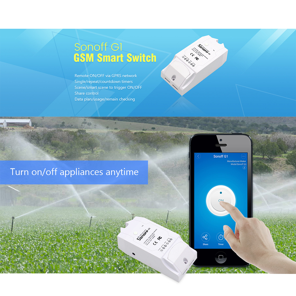 Sonoff G1 WiFi Smart Intelligent Switch GPRS Switch GSM wifi Controller for Smart Home Automation Water Pump Lights Outdoor Use sonoff g1 wifi switch gprs switch gsm mobile phone remote controller water pump lights outdoor use