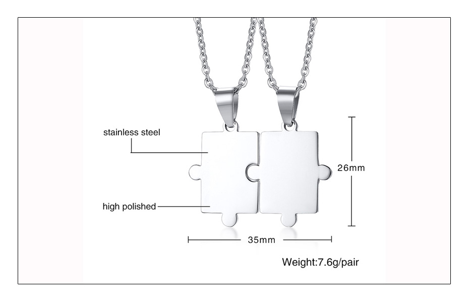 Meaeguet Free Engraving Puzzle Necklace For Best Friends Men Women Couple Stainless Steel Personalized Pendant Necklace Set (5)