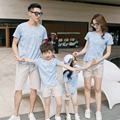 Free Shipping Summer casual Family Matching Outfits Girl Boy mother father Sets blue short sleeve T shirt + cotton Shorts Pants