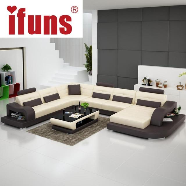 High Quality IFUNS White Genuine Leather Luxury Sofa Sets U Shaped Cow Leather Sectional  Sofa Set Living Room Furniture Big House (fr)