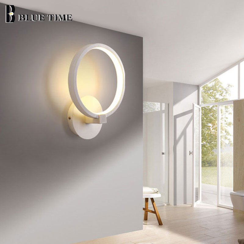 Us 10 8 20 Off Square Circle Frame Modern Led Wall Lights For Living Room Dining Bedroom Study Black White Finished Lamps In