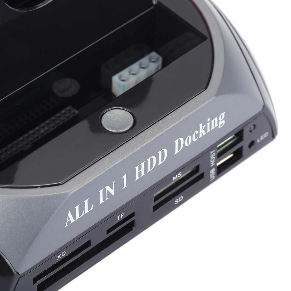 """UE/EE. UU. 2,5 """"3,5"""" SATA/IDE HDD Case 2-Dock Dual Bay Hard Drive estación de acoplamiento e-sata lector de tarjetas Hub USB carcasa Hdd"""