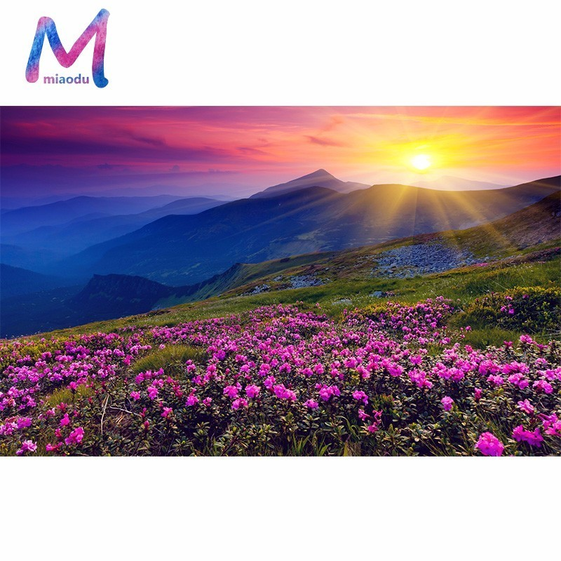MIAODU 5D DIY Diamond Embroidery Landscape Sunrise and Purple Flower Pattern Painting Rhinestones Diamond Mosaic Home Decor-in Diamond Painting Cross Stitch from Home & Garden on Aliexpress.com | Alibaba Group