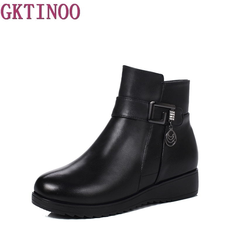 Fashion Women Snow Boots Plush Ankle Boots For Women Winter Genuine Leather Boots Women Black Shoes Size 35-43