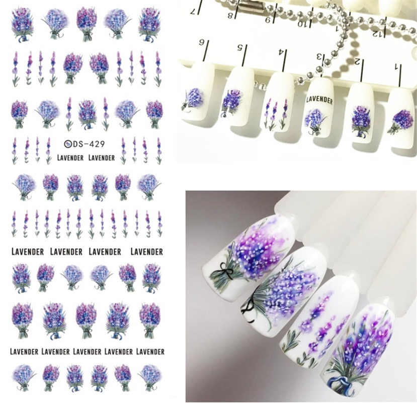 Flower Series Daisy Lavender Nail Sticker Unicorn Animal Series Ocean Cat Plant Transfer Sticker Manicure Nail Art Decoration