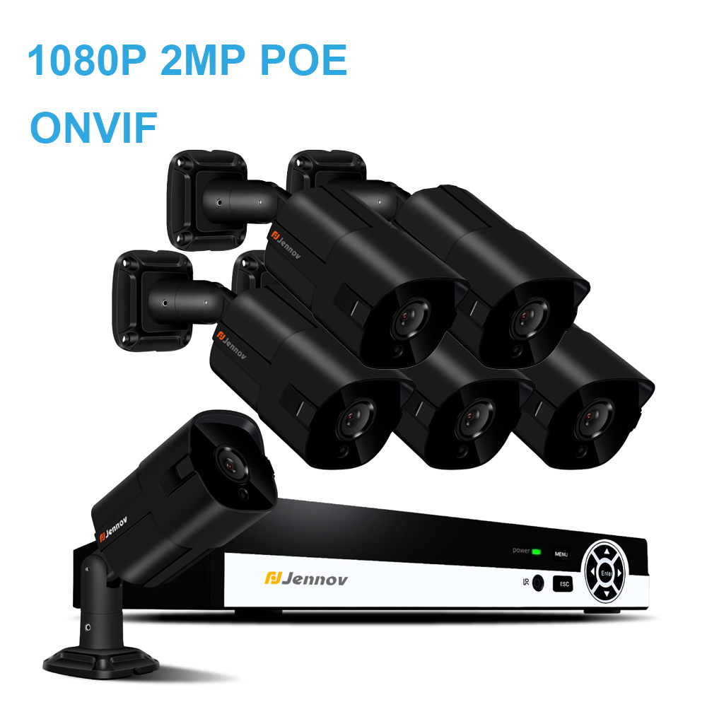 6CH 1080P 2MP POE NVR CCTV System IP66 Outdoor Waterproof IP Camera ONVIF HD IR Night Vision Surveillance System P2P APP View h 265 4ch 1080p hdmi poe nvr cctv system 2mp outdoor ip66 ip camera p2p onvif security surveillance kit motion detect app view