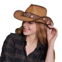 Retro Women Men Unisex Vintage High Quality Hard Straw Wide Brim Beach Cowboy Cowgirl Western Hat Turquoise Flower Band 58cm