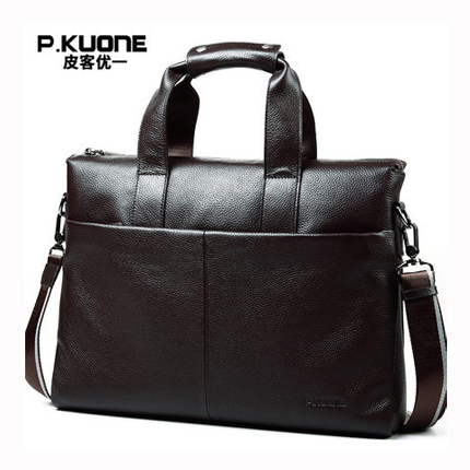 Brand men briefcase, genuine leather business bag, 14