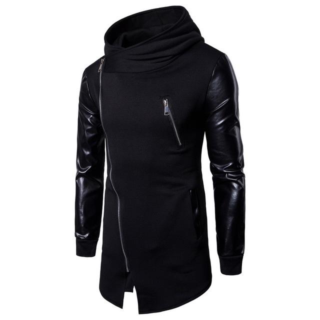 Laamei 2018 New Men's Fashion Stitching Sweatershiets Men's Casual Cardigan PU Leather Sleeves Slim Zipper Irregular Long Hoodie