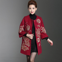 Middle aged Women's Wool Coat Autumn And Winter Clothing National Embroidery Thick Woolen Black Red Coat Embroidered M To 4XL