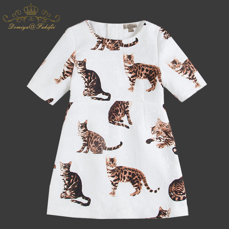 Winter 2018 Girl Cat Print Princess Tulle Dress Kids Teenagers Clothes Christmas Party dresses Performance Clothing Children cat print hooded dress