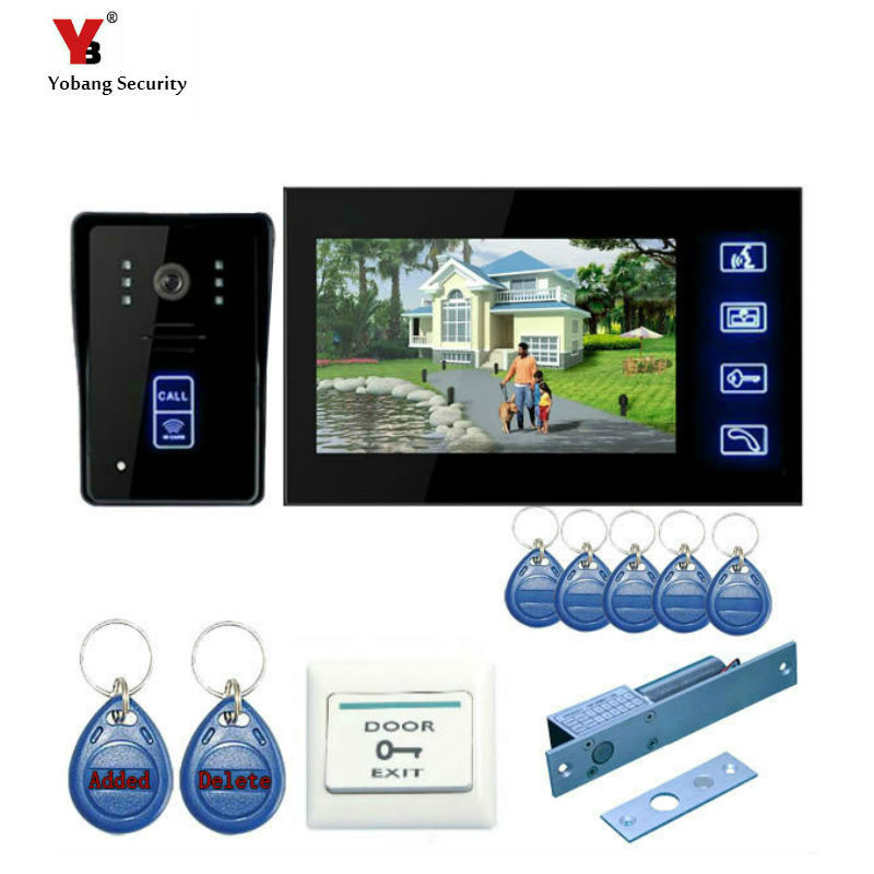 Yobang Security freeship 7 Wired Video Doorbell Phone and Video Intercom System Night Vision+ electronic lock