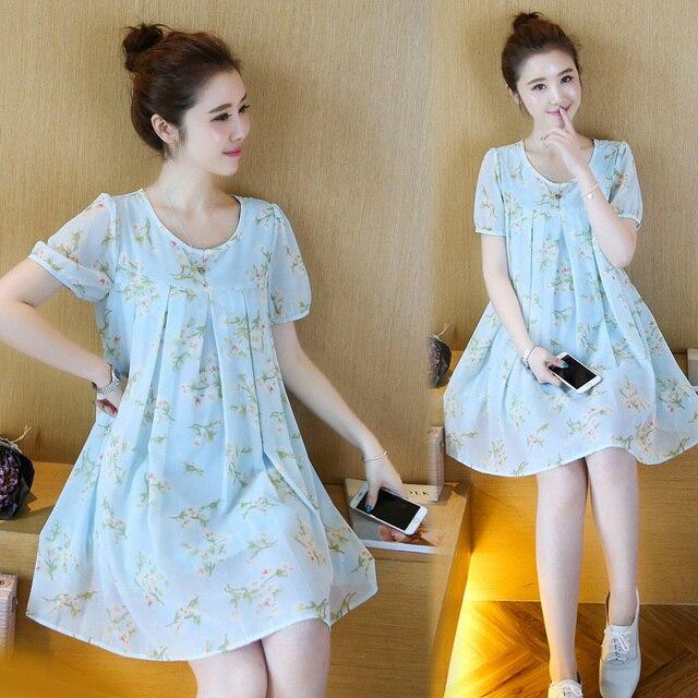 b5c5d54c878 Summer fashion maternity dress with short sleeves chiffon dress pregnant  women formal chiffon small floral dress pleated dress