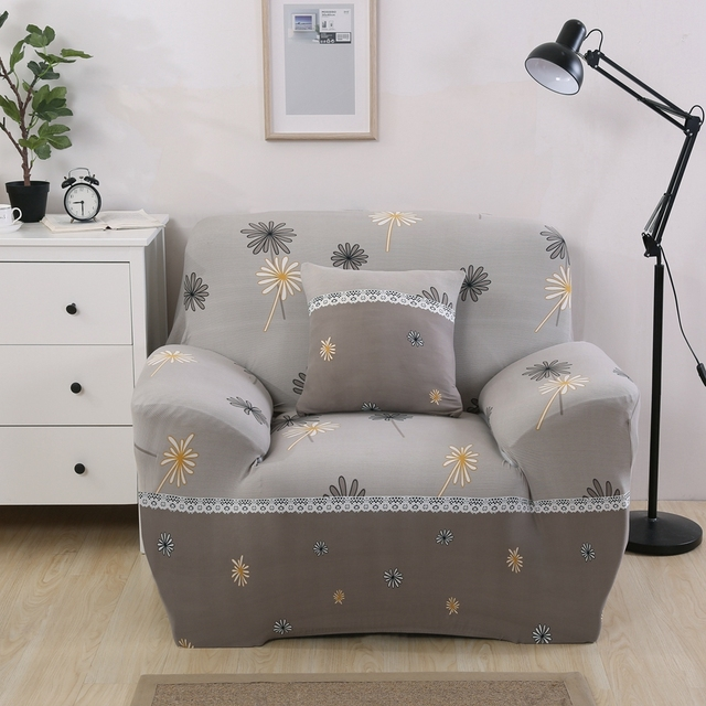 Grey Couch Covers Flowers Design Sofa Slipcovers Spandex Single Double  Three Four Seat Reclining Sofa Covers