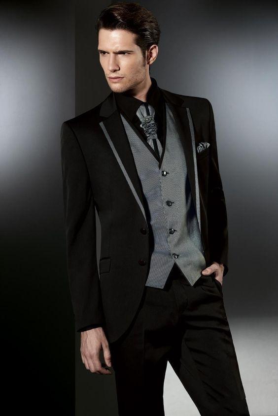 2017 Latest Coat Pant Designs Italian Black Grey Men Suits Slim Fit Tuxedo 3 Piece Gentle Custom Groom Prom Suit Terno Masculino