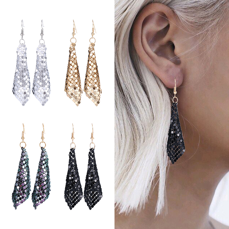 HOCOLE Fashion Sequins Drop Earrings For Women Handmade Trendy Female Shiny Dangle Earring Statement Jewelry Girls Wedding Party