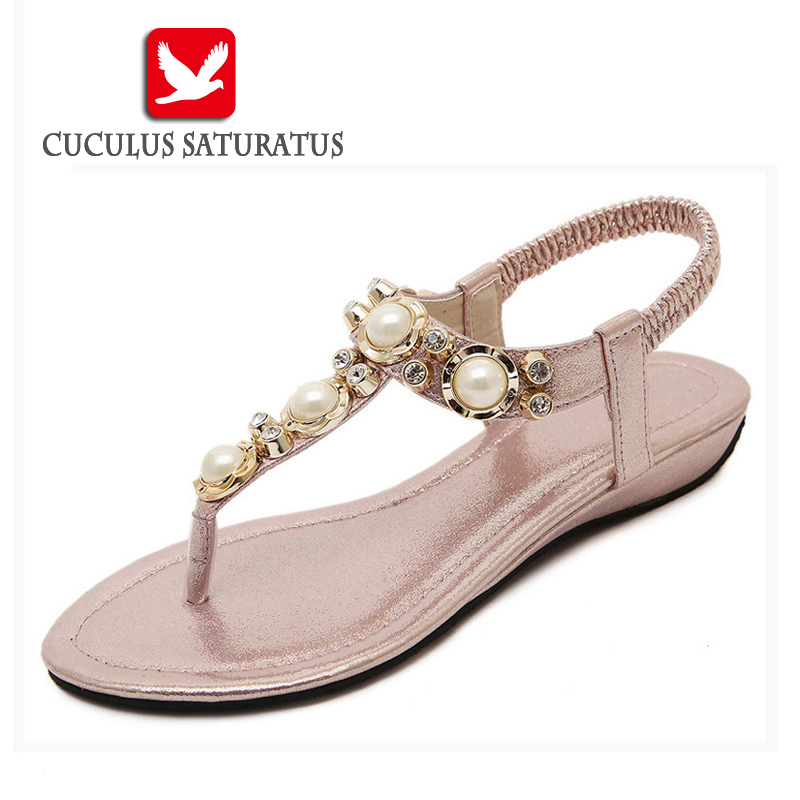 Cuculus Summer Sandals Women Fashion Beading PU Leather Platform Wedges Sandals Female Shoes Woman 4 Colors Size 35-40 801-1
