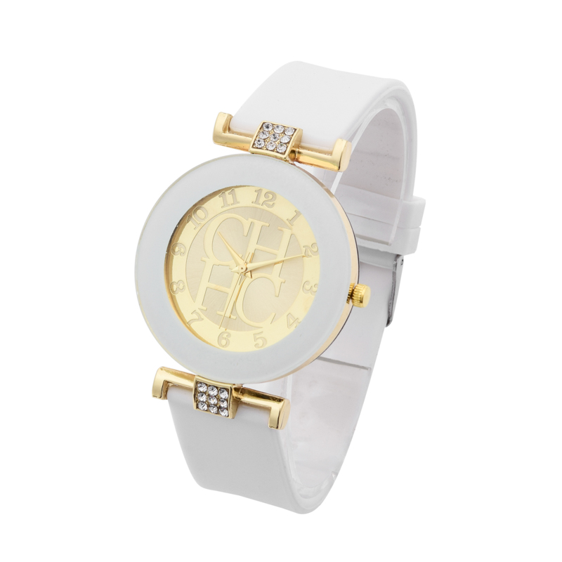 Hot sale Fashion Brand Gold Geneva sport Quartz Watch Women dress casual Crystal Silicone Watches montre homme relojes hombre 2